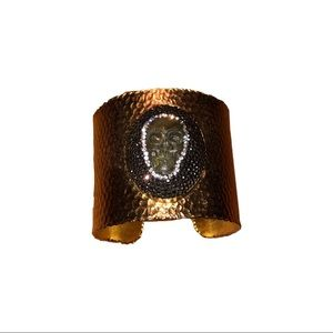 Jewelry - Labradorite Swarovski Crystal Skull Hammered Cuff